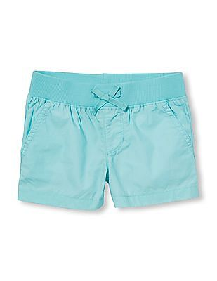 The Children's Place Girls Solid Poplin Pull On Shorts