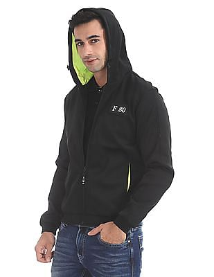 Flying Machine Hooded Solid Bomber Jacket