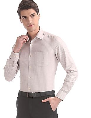Arrow Beige Slim Fit Patterned Striped Shirt