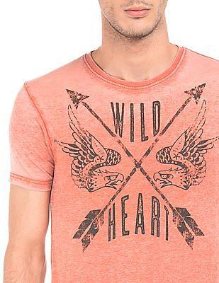 Ed Hardy Distressed Print Regular Fit T-Shirt
