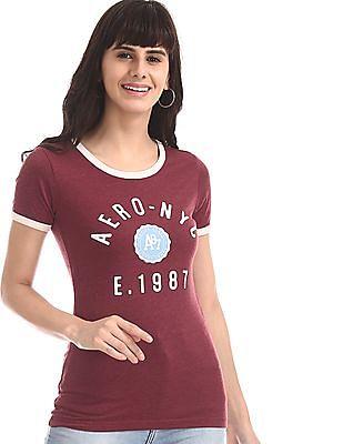 Aeropostale Red Brand Print Ringer T-Shirt