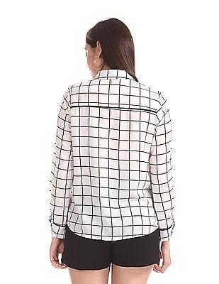 Elle Studio White Tie Up Collar Check Shirt
