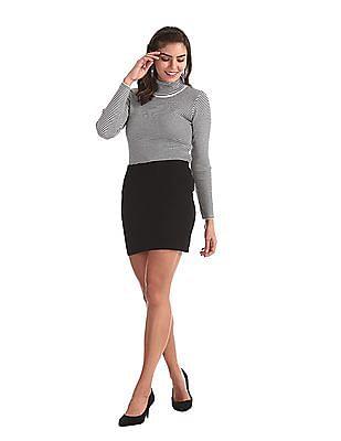 Cherokee White Striped Turtleneck Sweater
