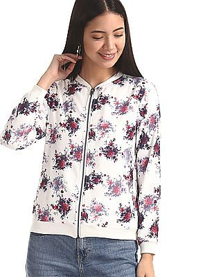 SUGR White Floral Print Zip Up Bomber Jacket