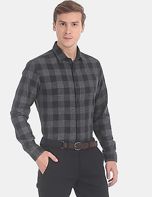 Flying Machine Men Black Slim Fit Check Casual Shirt