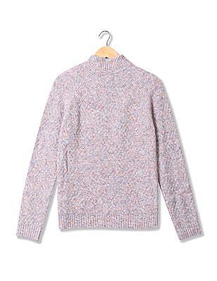Aeropostale Purple Turtleneck Patterned Knit Sweater