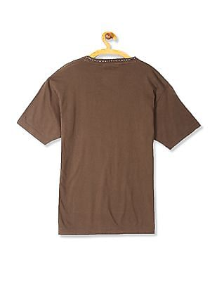 Flying Machine Women Brown V-Neck Graphic T-Shirt
