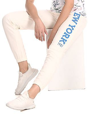 Aeropostale White Brand Applique Knit Joggers