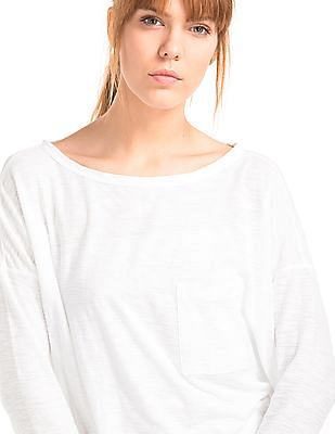 GAP Women White Boat Neck Long Sleeve Tee