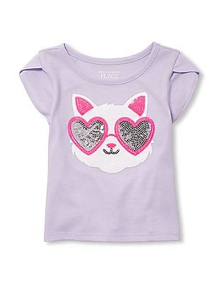 The Children's Place Baby And Toddler Girl Short Tulip Sleeve Embellished Top