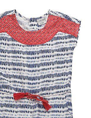 Cherokee Girls Printed Lace Trim Jumpsuit