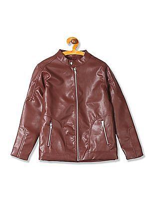 FM Boys Boys Slim Fit Zip Up Biker Jacket