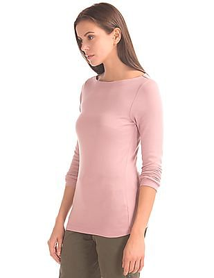GAP Women Pink Modern Long sleeve Boat Neck Tee