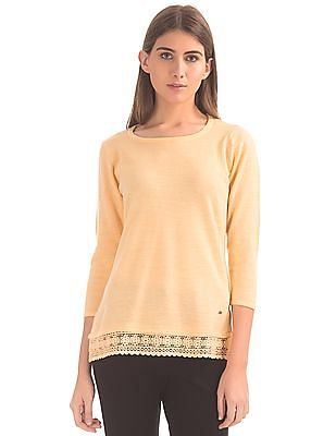 Arrow Woman Lace Hem Sweater Top