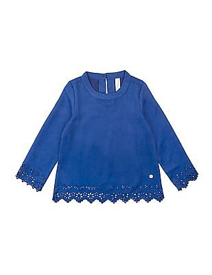 U.S. Polo Assn. Kids Girls Laser Cut Suedette Top