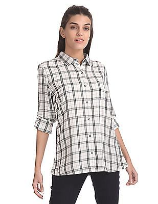 U.S. Polo Assn. Women Spread Collar Check Shirt