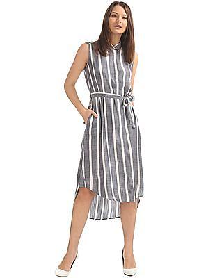 U.S. Polo Assn. Women Striped Belted Shirt Dress