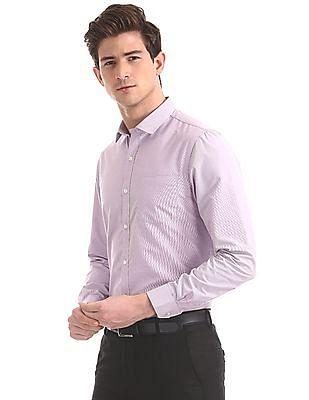 Excalibur Purple Semi Cutaway Collar Patterned Shirt