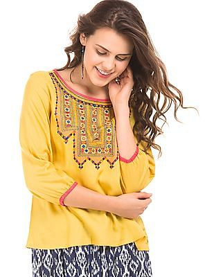Bronz Embroidered Slim Fit Top