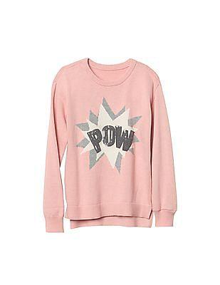 GAP Girls Embellished Graphic Crew Sweater