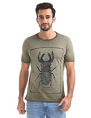 Flying Machine Crew Neck Graphic T-Shirt