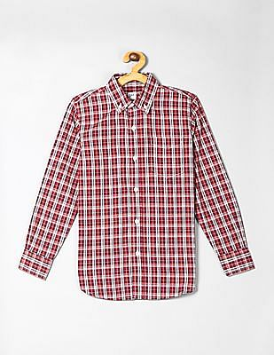 GAP Red Boys Plaid Poplin Shirt