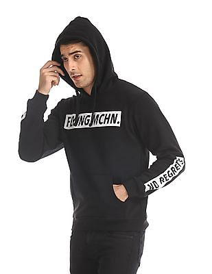 Flying Machine Black Drawstring Hood Printed Sweatshirt