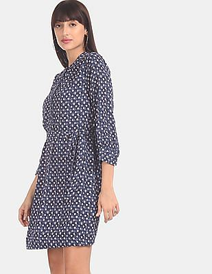 GAP Women Blue Belted Shirt Dress