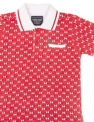 Cherokee Boys Contrast Collar Patterned Knit Polo Shirt