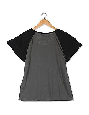 Flying Machine Women Round Neck Printed T-Shirt