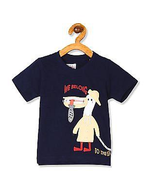 Donuts Boys Crew Neck Appliqued T-Shirt