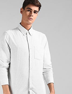 GAP Green Lived-In Stretch Oxford Shirt