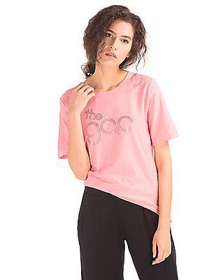 GAP Women Pink Throwback Foil Logo Tee
