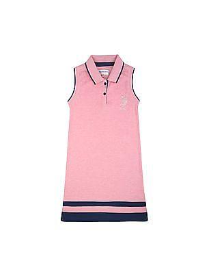 U.S. Polo Assn. Kids Girls Solid Regular Fit Polo Dress