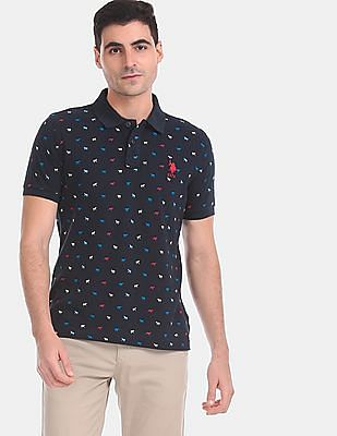 U.S. Polo Assn. Men Blue Horse Print Pique Polo Shirt