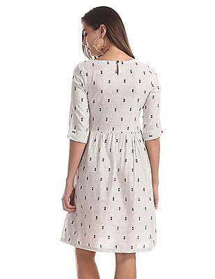 Bronz White Printed Fit And Flare Dress