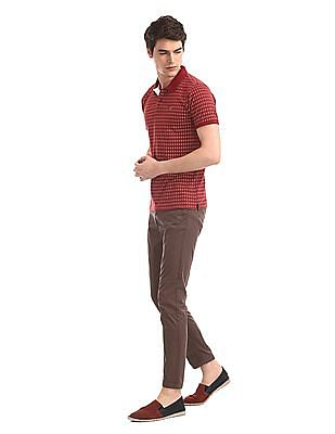 Ruggers Red Printed Cotton Polo Shirt