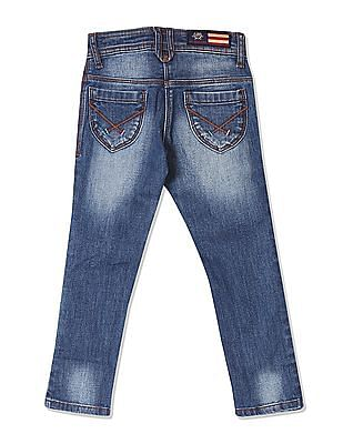 U.S. Polo Assn. Kids Girls Stone Wash Whiskered Jeans