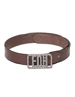 Ed Hardy Brown Textured Buckle Leather Belt