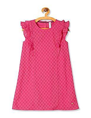 U.S. Polo Assn. Kids Girls Eyelet Flutter Sleeve A-Line Dress