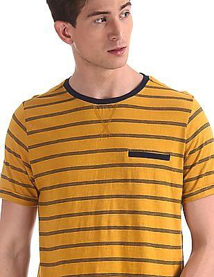 Cherokee Yellow Crew Neck Striped T-Shirt