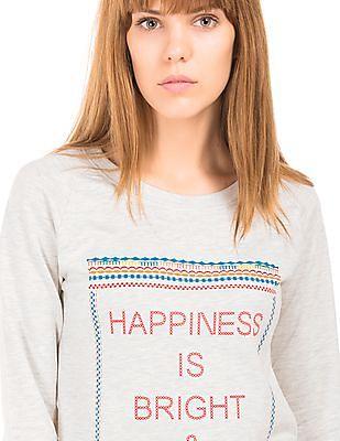 Flying Machine Women Drawstring Waist Printed Sweatshirt