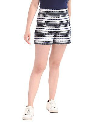 "GAP High Rise 4"" Woven Stripe Shorts"