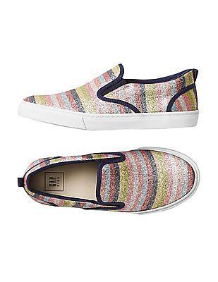 GAP Girls Multi Colour Crazy Stripe Glitter Slip On Sneakers