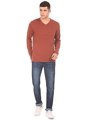 Arrow Sports Patterned Front V-Neck Sweater