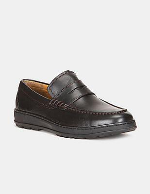 Cole Haan Men Black Traveller Leather Penny Loafers