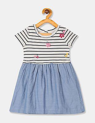 GAP White Toddler Girl Mix-Fabric Dress