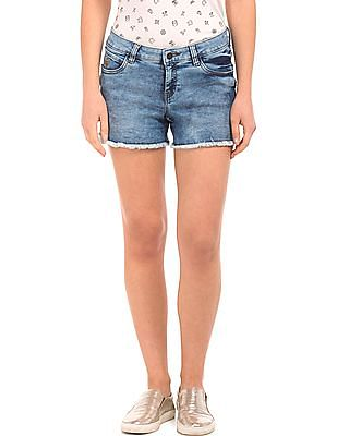 Flying Machine Women Stone Washed Denim Shorts