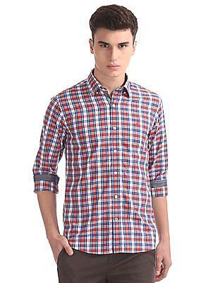 Nautica Long Sleeve Yarn Dyed Plaid Shirt With Cording