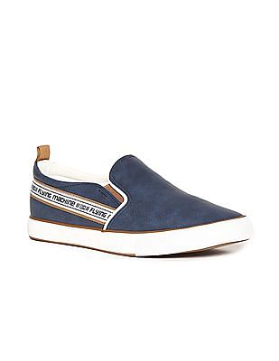 Flying Machine Blue Brand Tape Textured Slip On Shoes